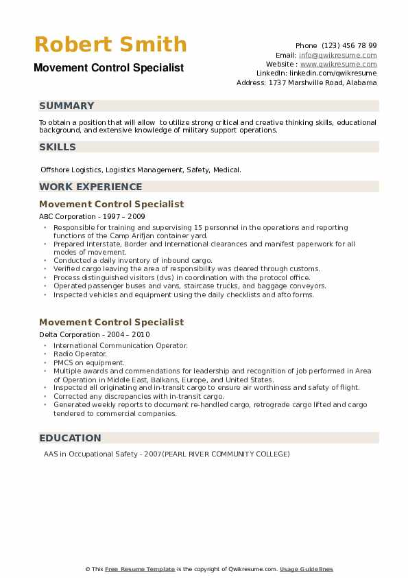 Movement Control Specialist Resume example
