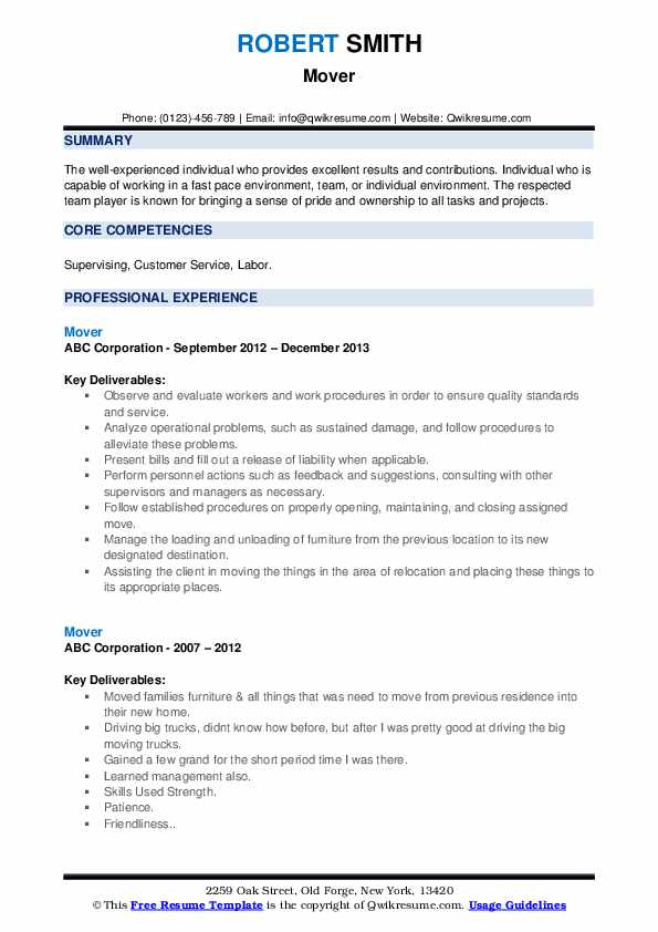 Mover Resume example