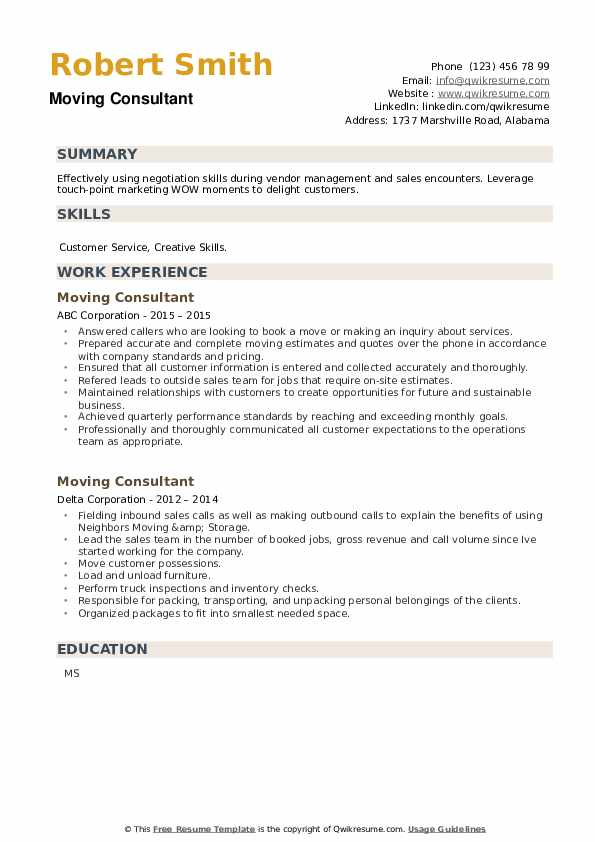 Moving Consultant Resume example