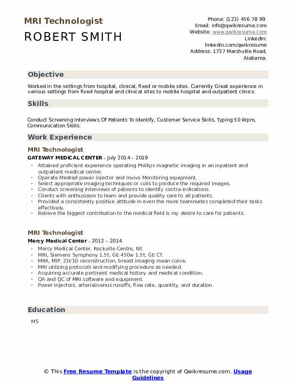 MRI Technologist Resume example