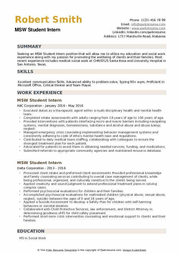 MSW Student Intern Resume example