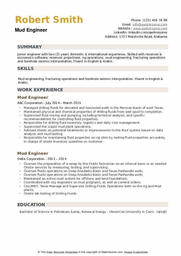 Mud Engineer Resume example