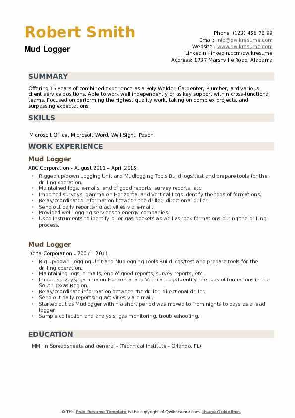 Mud Logger Resume example
