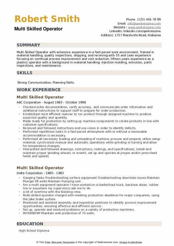Multi Skilled Operator Resume example