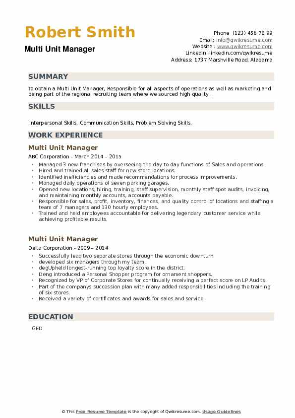 Multi Unit Manager Resume example