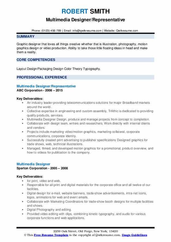 Multimedia Designer/Representative Resume Format
