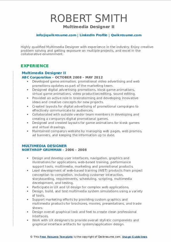 Multimedia Designer II Resume Format