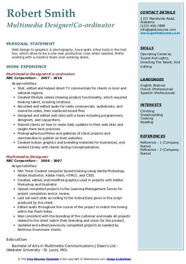 Multimedia Designer/Co-ordinator Resume Example