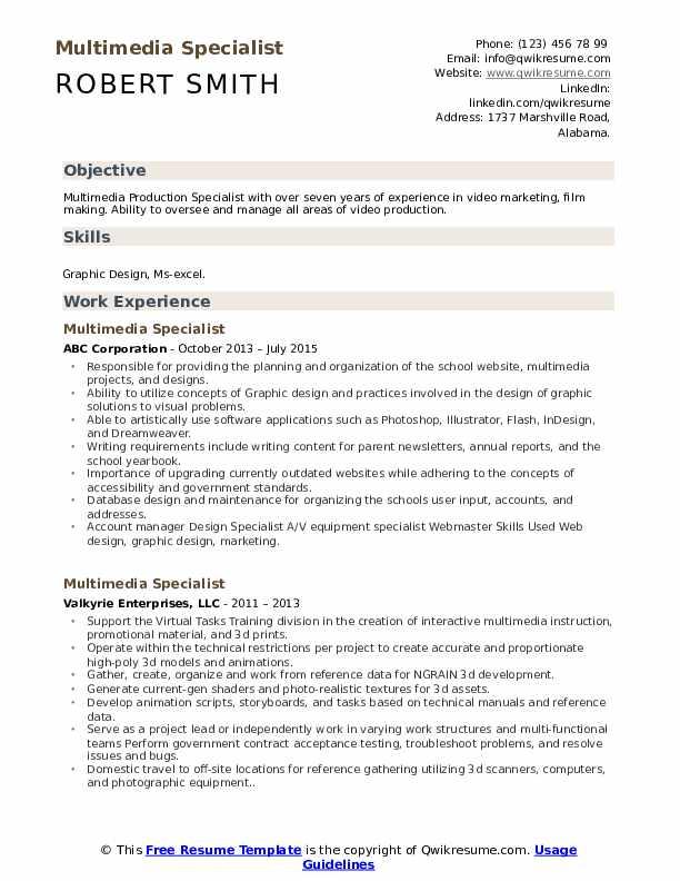 Multimedia Specialist Resume Example