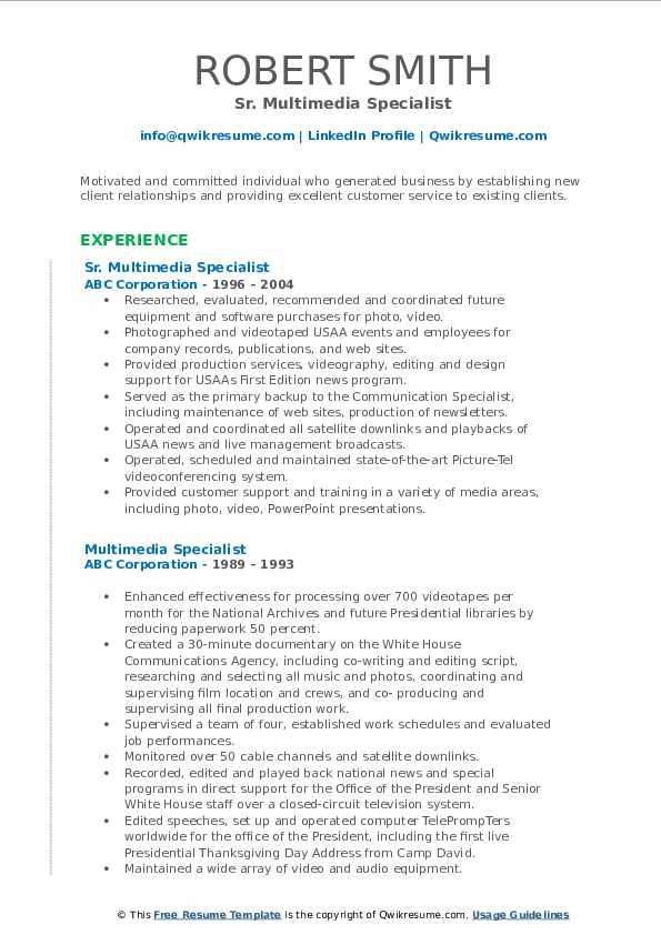 Sr. Multimedia Specialist Resume Example