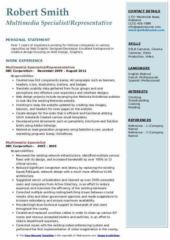 Multimedia Specialist/Representative Resume Template