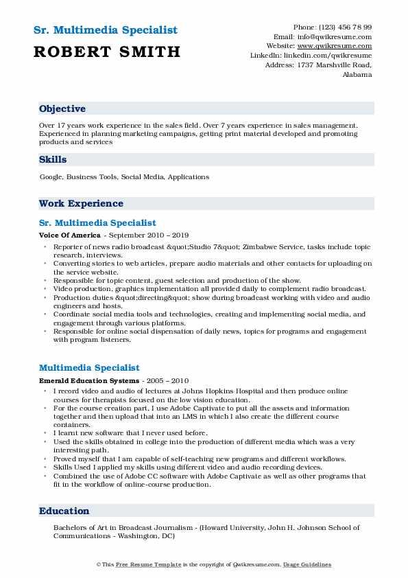 Sr. Multimedia Specialist Resume Sample