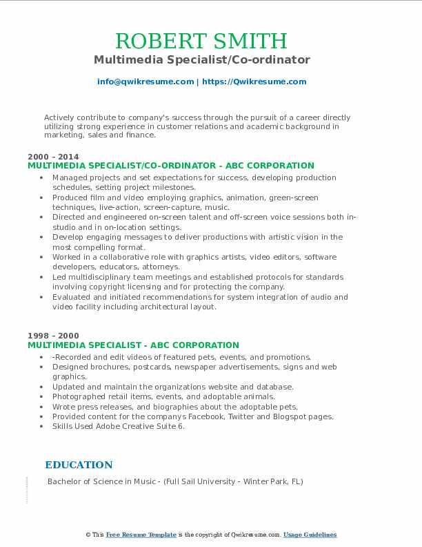 Multimedia Specialist/Co-ordinator Resume Format