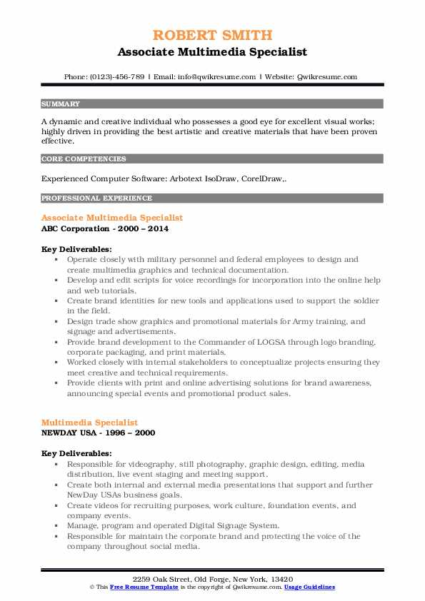 Associate Multimedia Specialist Resume Model