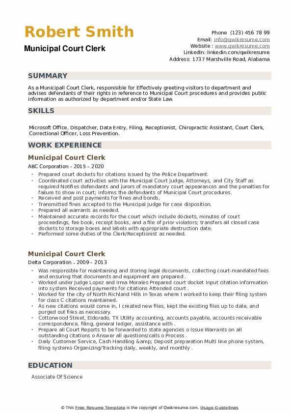 Municipal Court Clerk Resume example