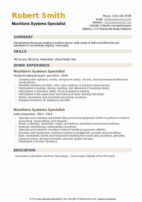 Munitions Systems Specialist Resume example