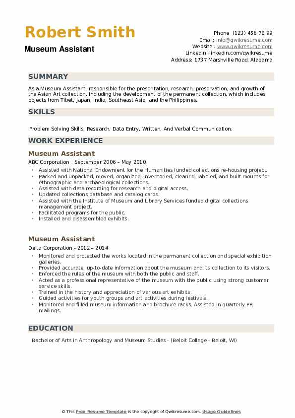 Museum Assistant Resume example