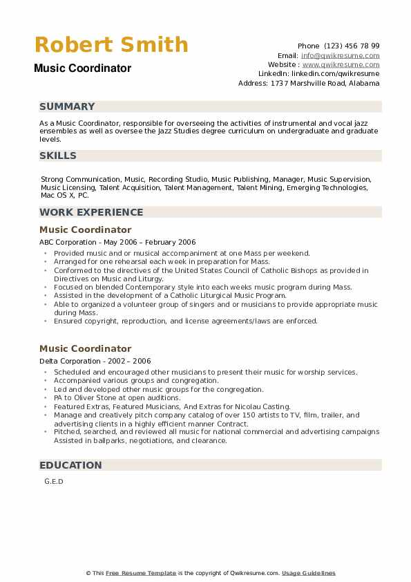 Music Coordinator Resume example