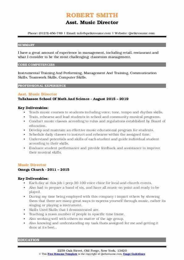 Asst. Music Director Resume Format