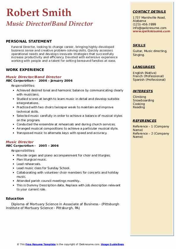 Music Director/Band Director Resume Model