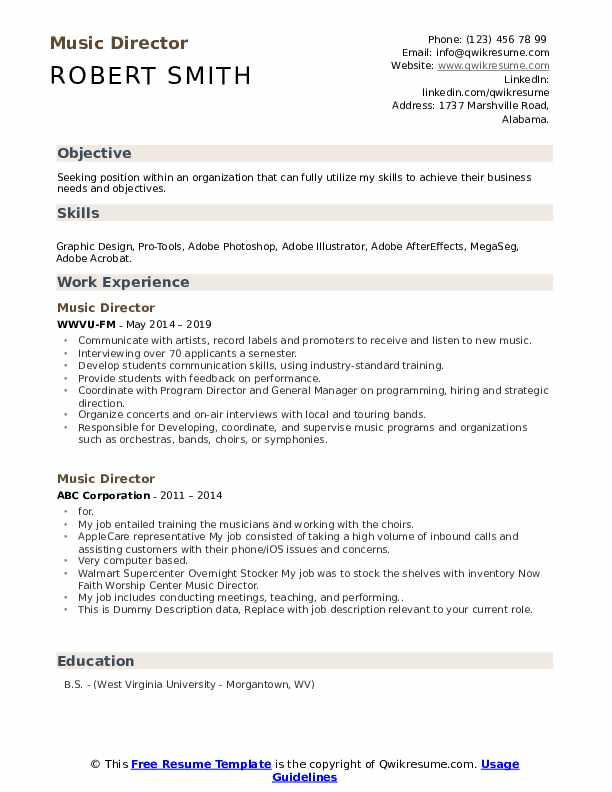 Music Director Resume example