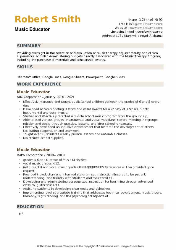 Music Educator Resume example