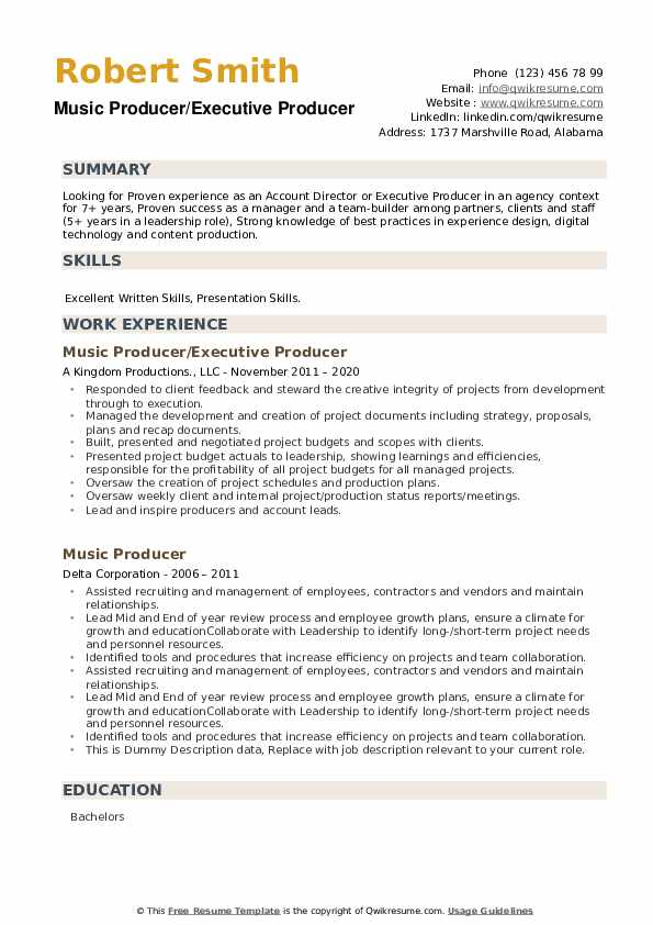 Music Producer Resume example