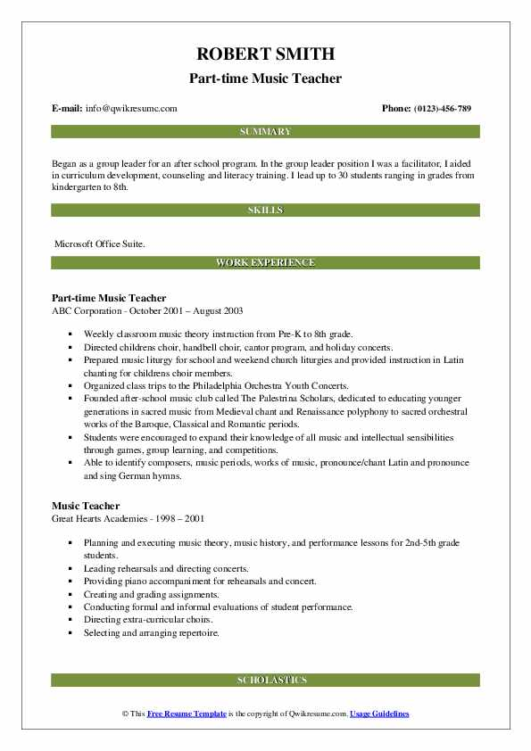 Part-time Music Teacher Resume Example