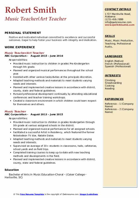 music education resume examples  best resume examples