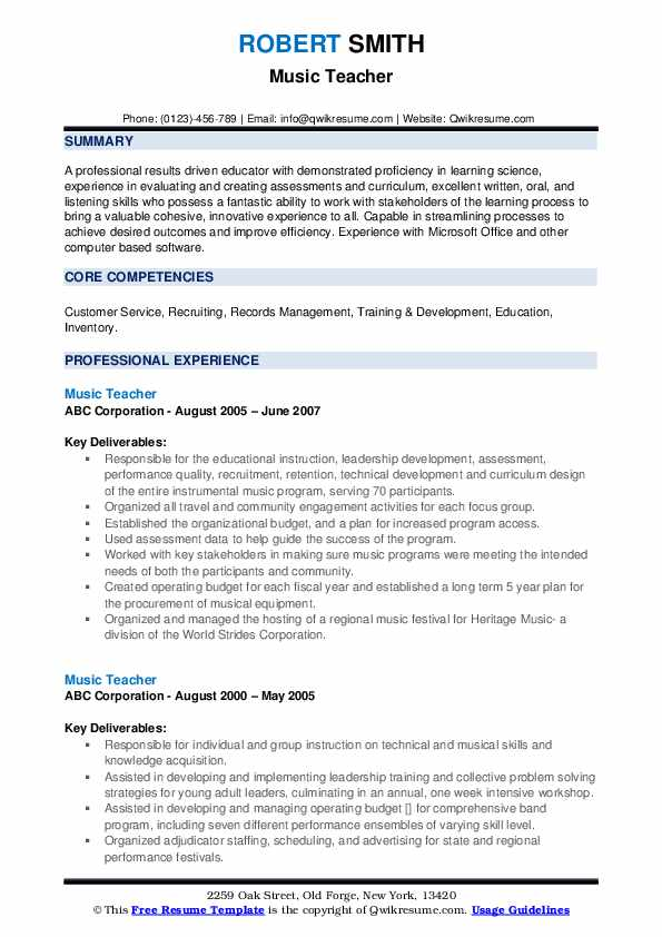 Music Instructor Resume example