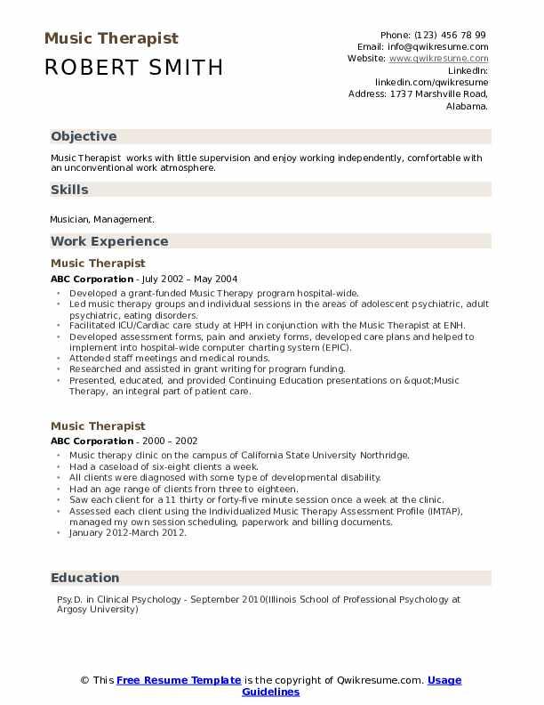 Music therapy resume samples david axelrod resume obama