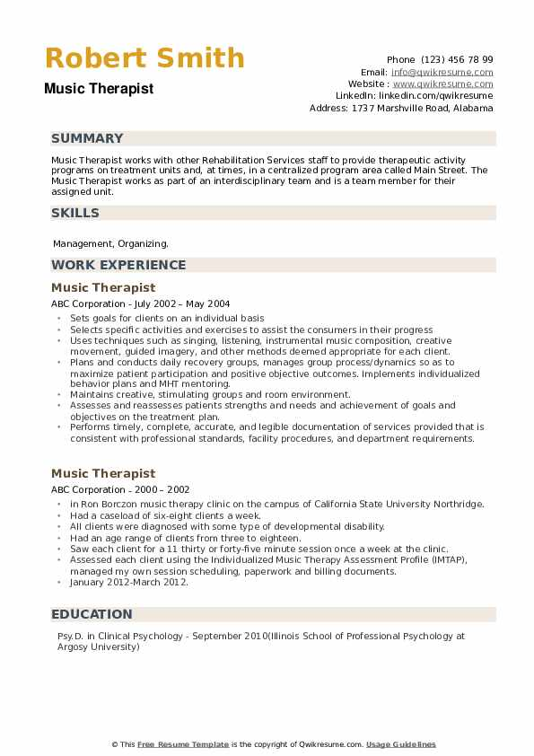 Music Therapist Resume example