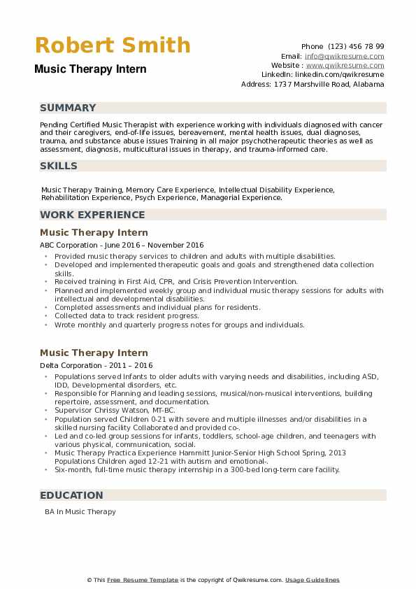 Music Therapy Intern Resume example