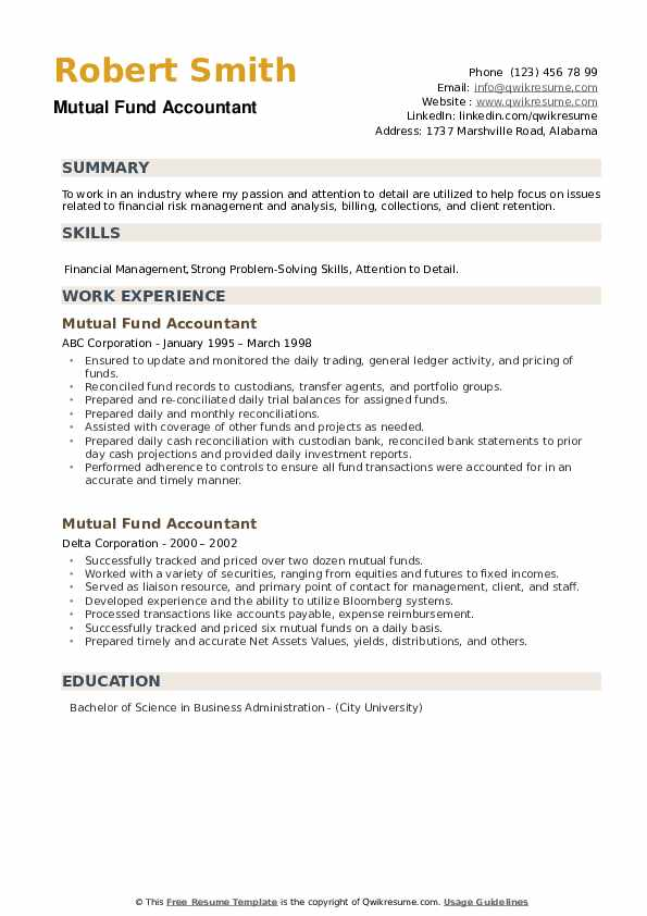 Mutual Fund Accountant Resume example