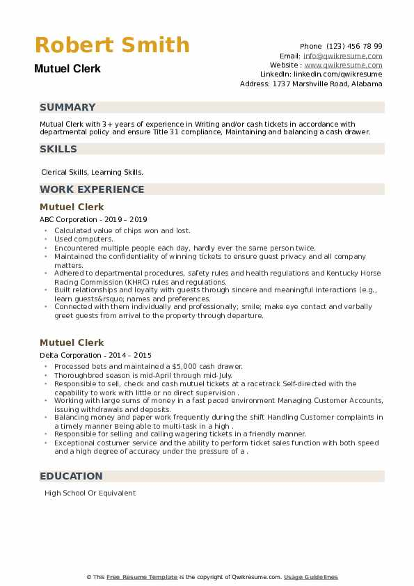 Mutuel Clerk Resume example