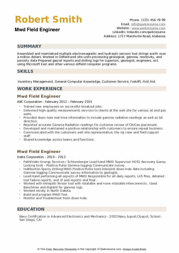 MWD Field Engineer Resume example
