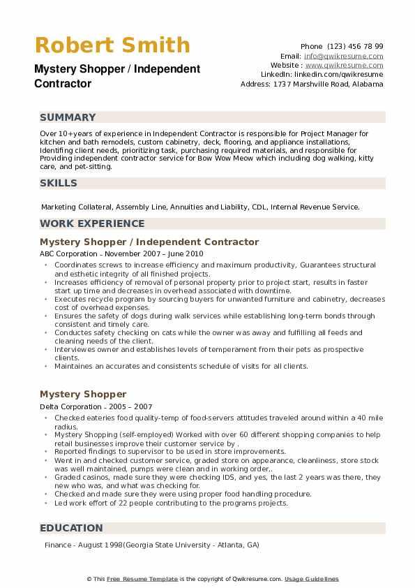 Mystery Shopper Resume example