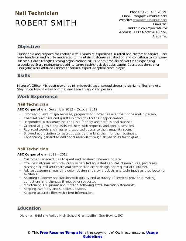 Nail Technician Resume Example