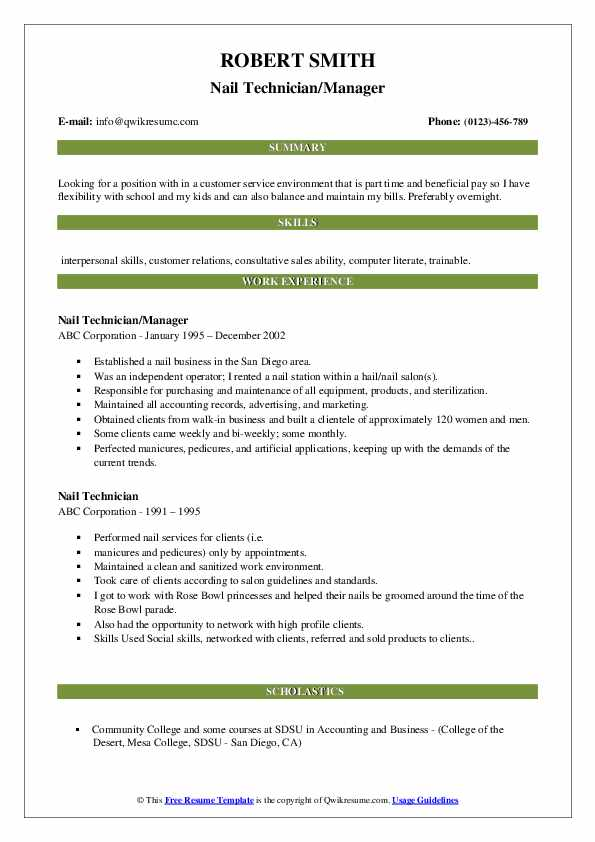 Nail Technician/Manager Resume Sample