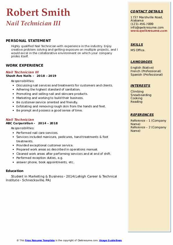 Nail Technician III Resume Example