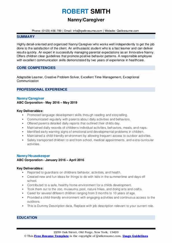 Nanny/Caregiver Resume Model
