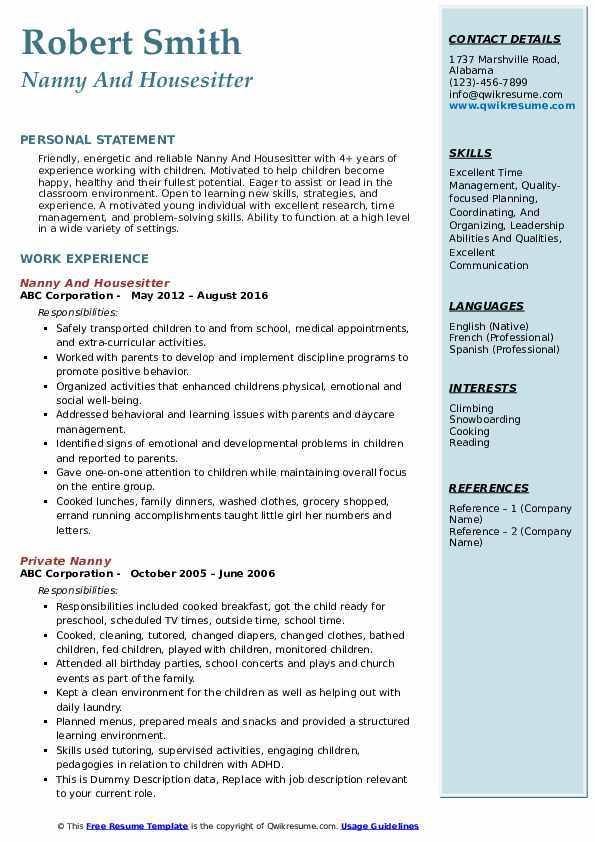 Nanny And Housesitter Resume Template