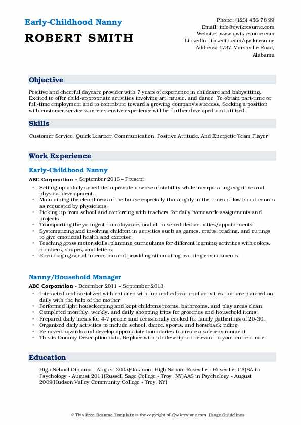 Early-Childhood Nanny Resume Example