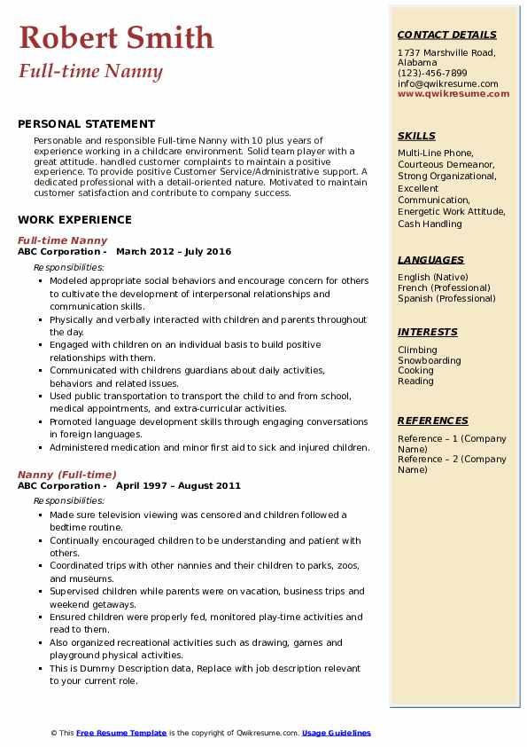 Full-time Nanny Resume Format