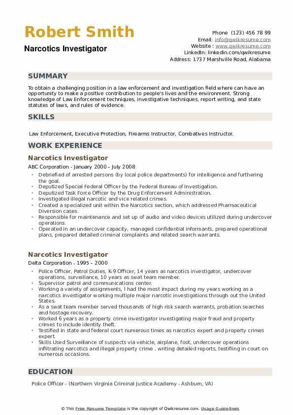 Narcotics Investigator Resume example