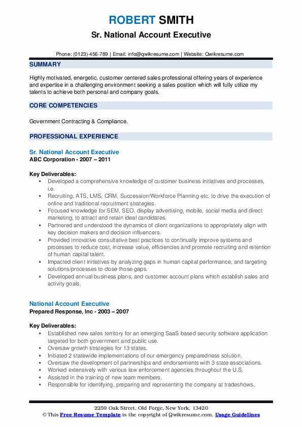 Sr. National Account Executive Resume Sample