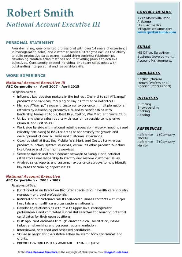 National Account Executive III Resume Sample