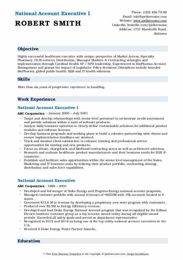 National Account Executive I Resume Format