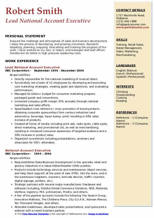 Lead National Account Executive Resume Format