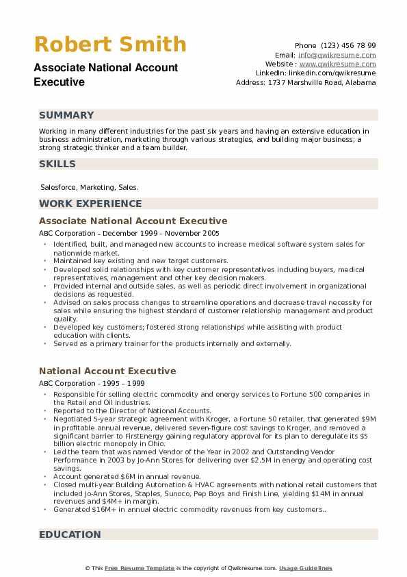 Associate National Account Executive Resume Model